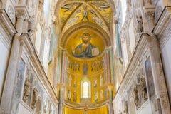 Wnętrze bazylika Cefalu Mozaika Chrystus Zdjęcia Royalty Free