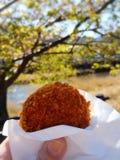 Wołowiny Croquette przekąska w ręce na drzewnym natury tle i zdjęcie stock