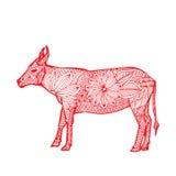 Woła chińczyka zodiak ilustracji