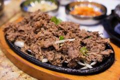 Wołowina Bulgogi (Piec na grillu Marynowana wołowina) fotografia stock