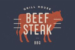 Wołowina, krowa Plakat dla Butchery mięsnego sklepu royalty ilustracja