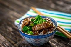 Wołowina w kumberlandzie z brokułami i ryż Obrazy Royalty Free