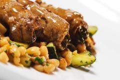 wołowiny naczynia gorący mięsnej rolki warzywo Zdjęcia Stock