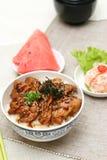 wołowiny wyśmienicie karmowego japończyka przygotowani ryż fotografia stock