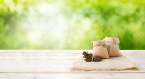 Wo of blank hemp sack bag and pine cones on wood table top floor Stock Images