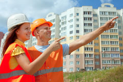 Wo builders works at construction site Royalty Free Stock Photography