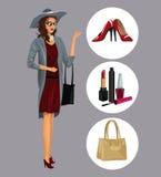 Wo elegante con le varie scarpe di trucco degli accessori illustrazione di stock