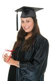 Wo Graduate Receives Diploma 7. Very happy and proud beautiful young woman standing in graduation robes, cap and gown smiling and holding her diploma or degree stock photography