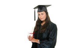 Wo Graduate Receives Diploma 8. Very happy and proud beautiful young woman standing in graduation robes, cap and gown smiling and holding her diploma or degree royalty free stock images
