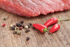 wołowiny chili pieprzu surowy stek Obrazy Stock