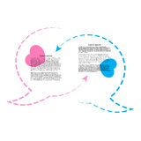 Wo vector bubble chat contours rozovogoi tsvetas blue hearts and arrows and place for text. Stock Photo