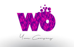 WO W O Dots Letter Logo with Purple Bubbles Texture. Royalty Free Stock Photo