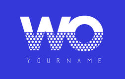 WO W O Dotted Letter Logo Design with Blue Background. Royalty Free Stock Photography