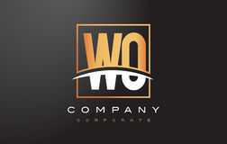 WO W O Golden Letter Logo Design with Gold Square and Swoosh. Royalty Free Stock Image