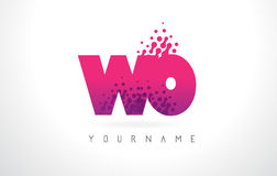 WO W O Letter Logo with Pink Purple Color and Particles Dots Des Stock Images