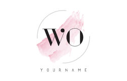 WO W O Watercolor Letter Logo Design with Circular Brush Pattern Stock Image