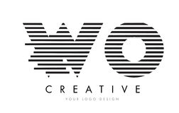 WO W O Zebra Letter Logo Design with Black and White Stripes Stock Photography