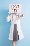 Woamn doctor take angry billboard Royalty Free Stock Photo