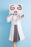 Woamn doctor take tired billboard Stock Photography