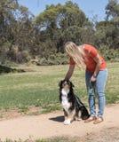 Woman Petting Dog Stock Photos