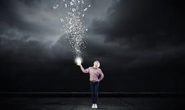 Woamn splashing charcters from bucket Stock Photography