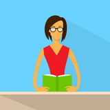 Woan Read Book Glasses Flat Vector Stock Photo