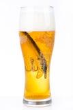 Wobbler del cebo de pesca en vidrio con la cerveza Fotos de archivo libres de regalías