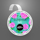 Wobbler design template. Summer sale with bright background and colorful peonies. Vector illustration stock illustration
