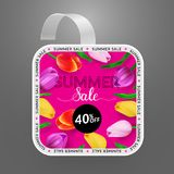 Wobbler design template. Summer sale with bright background and colorful tulips. Vector illustration royalty free illustration