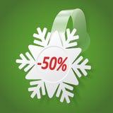 Wobbler mit weißer Schneeflocke. Editable Hintergrund Lizenzfreies Stockfoto