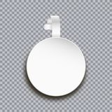 Wobbler mockup on transparent background. Blank white round paper sticker for price. Advertising plastic self-adhesive banner. Royalty Free Stock Photo
