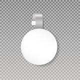 Wobbler ou zombaria da etiqueta do ponto de vendas acima Opinião dianteira do Wobbler plástico redondo branco vazio do preço da p ilustração royalty free