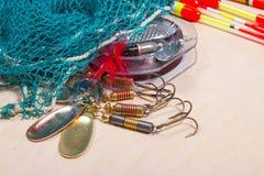 Wobbler, vlotters en visserijtoebehoren Stock Afbeelding