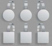 Wobblermall Supermarket böjde vita tomma wobblers modell för vektor för etiketter för rabatt för försäljning 3d plast- vektor illustrationer