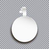 Wobblermodel op transparante achtergrond Lege witte ronde document sticker voor prijs Adverterende plastic zelfklevende banner royalty-vrije illustratie