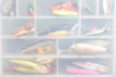 Wobblers рыбной ловли Blure в ящике для хранения Стоковое фото RF