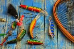 Wobblers, садок для рыбы и другое удя оборудование Стоковое Изображение RF