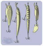 Wobblers or artificial fishing lures Stock Photography