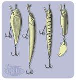 Wobblers eller konstgjort fiske lockar Arkivbild
