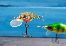 Wobblers faits main Amorce de rotation pour la pêche Photographie stock