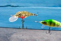 Wobblers faits main Amorce de rotation pour la pêche Photo stock