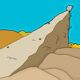 Wobbly Boulder Over Man Stock Images