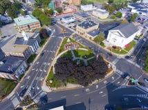 Woburn allmänning och stadshus, Massachusetts, USA arkivbild