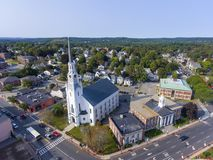 Woburn downtown aerial view, Massachusetts, USA. Woburn First Congregational Church aerial view in downtown Woburn, Massachusetts, USA royalty free stock photo