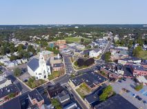Woburn downtown aerial view, Massachusetts, USA. Woburn First Congregational Church aerial view in downtown Woburn, Massachusetts, USA stock photos