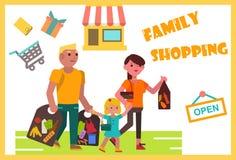 Wochenendenfamilieneinkaufen Stockbild