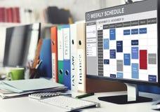Wochenplan, zum des Listen-Verabredungs-Konzeptes zu tun Lizenzfreie Stockfotos