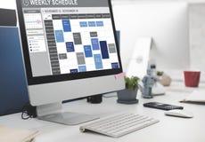 Wochenplan, zum des Listen-Verabredungs-Konzeptes zu tun Stockfotos
