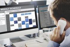 Wochenplan, zum des Listen-Verabredungs-Konzeptes zu tun Stockbilder