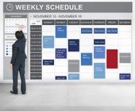 Wochenplan, zum des Listen-Verabredungs-Konzeptes zu tun Stockbild